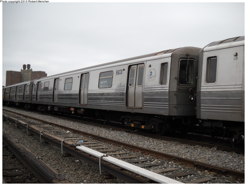 (213k, 1044x788)<br><b>Country:</b> United States<br><b>City:</b> New York<br><b>System:</b> New York City Transit<br><b>Location:</b> Coney Island Yard<br><b>Car:</b> R-68 (Westinghouse-Amrail, 1986-1988)  2798 <br><b>Photo by:</b> Robert Mencher<br><b>Date:</b> 4/16/2010<br><b>Viewed (this week/total):</b> 0 / 669