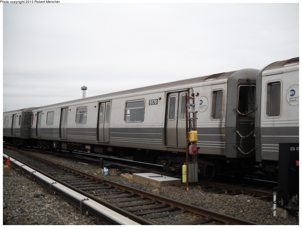 (183k, 1044x788)<br><b>Country:</b> United States<br><b>City:</b> New York<br><b>System:</b> New York City Transit<br><b>Location:</b> Coney Island Yard<br><b>Car:</b> R-68A (Kawasaki, 1988-1989)  5176 <br><b>Photo by:</b> Robert Mencher<br><b>Date:</b> 4/16/2010<br><b>Viewed (this week/total):</b> 1 / 680
