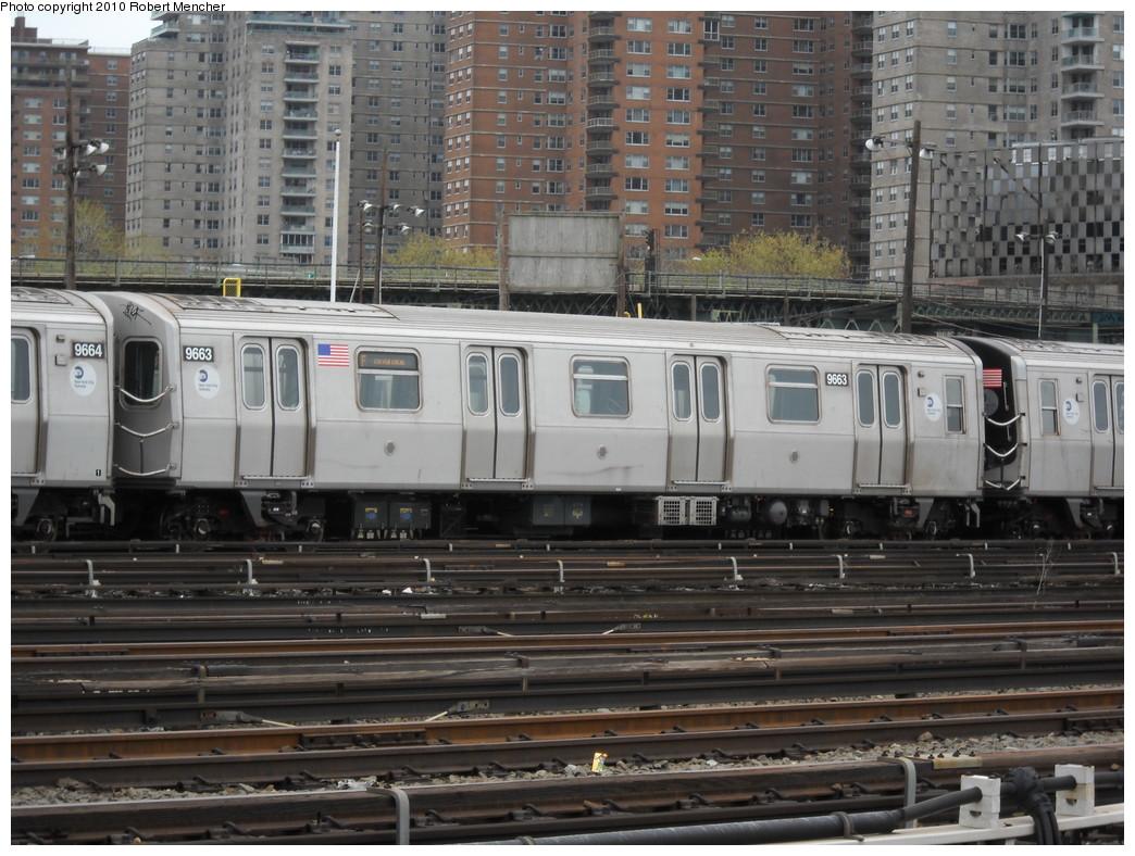 (272k, 1044x788)<br><b>Country:</b> United States<br><b>City:</b> New York<br><b>System:</b> New York City Transit<br><b>Location:</b> Coney Island Yard<br><b>Car:</b> R-160A (Option 2) (Alstom, 2009, 5-car sets)  9663 <br><b>Photo by:</b> Robert Mencher<br><b>Date:</b> 4/16/2010<br><b>Viewed (this week/total):</b> 0 / 839