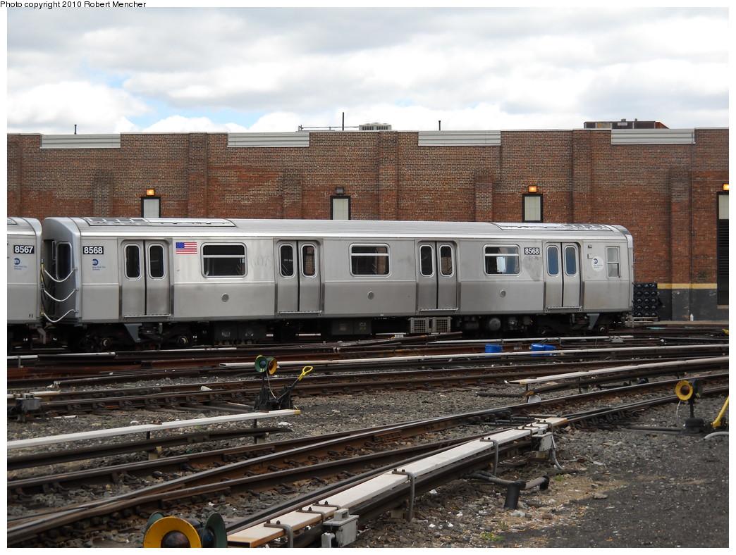 (283k, 1044x788)<br><b>Country:</b> United States<br><b>City:</b> New York<br><b>System:</b> New York City Transit<br><b>Location:</b> East New York Yard/Shops<br><b>Car:</b> R-160A-1 (Alstom, 2005-2008, 4 car sets)  8568 <br><b>Photo by:</b> Robert Mencher<br><b>Date:</b> 4/18/2010<br><b>Viewed (this week/total):</b> 1 / 649