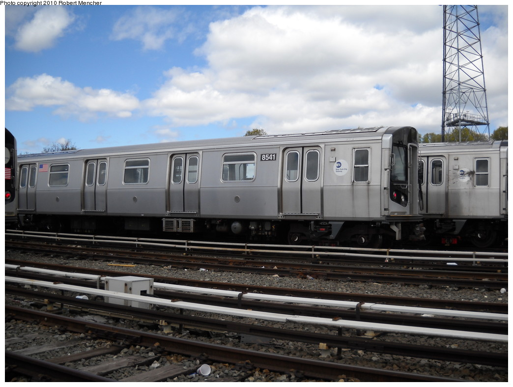 (227k, 1044x788)<br><b>Country:</b> United States<br><b>City:</b> New York<br><b>System:</b> New York City Transit<br><b>Location:</b> East New York Yard/Shops<br><b>Car:</b> R-160A-1 (Alstom, 2005-2008, 4 car sets)  8541 <br><b>Photo by:</b> Robert Mencher<br><b>Date:</b> 4/18/2010<br><b>Viewed (this week/total):</b> 0 / 503