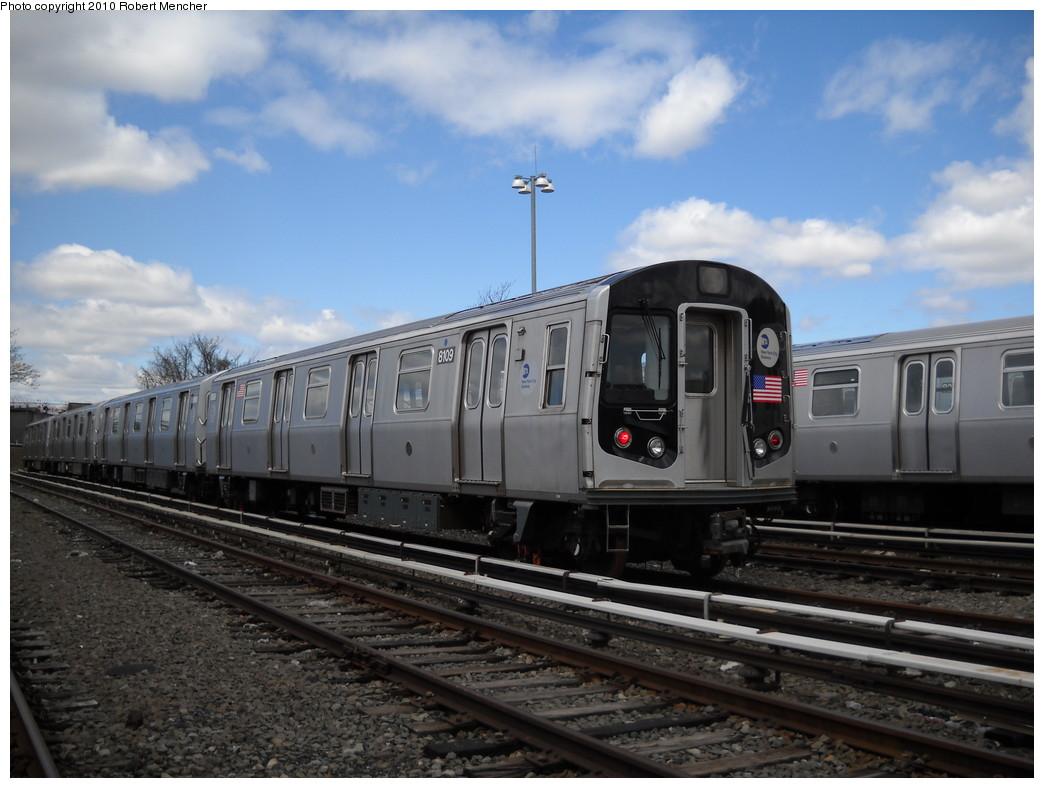 (220k, 1044x788)<br><b>Country:</b> United States<br><b>City:</b> New York<br><b>System:</b> New York City Transit<br><b>Location:</b> East New York Yard/Shops<br><b>Car:</b> R-143 (Kawasaki, 2001-2002) 8109 <br><b>Photo by:</b> Robert Mencher<br><b>Date:</b> 4/18/2010<br><b>Viewed (this week/total):</b> 1 / 638