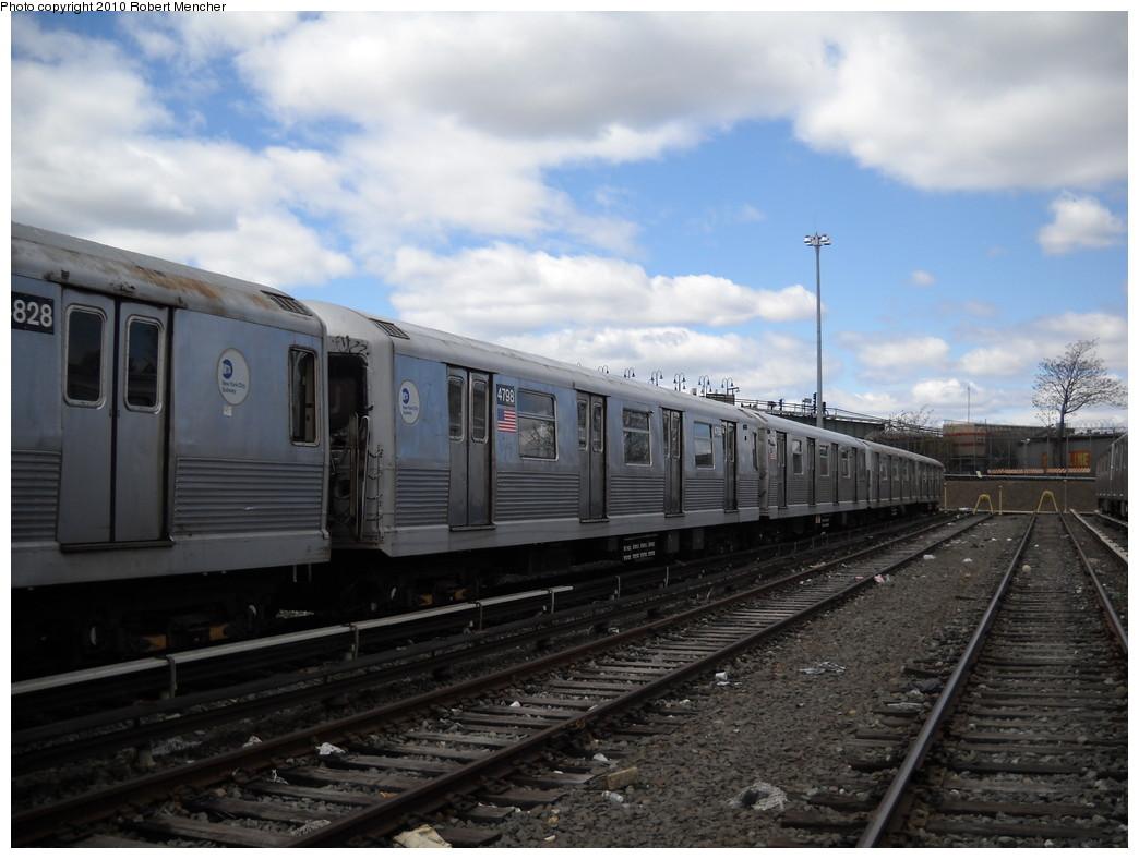 (215k, 1044x788)<br><b>Country:</b> United States<br><b>City:</b> New York<br><b>System:</b> New York City Transit<br><b>Location:</b> East New York Yard/Shops<br><b>Car:</b> R-42 (St. Louis, 1969-1970)  4798 <br><b>Photo by:</b> Robert Mencher<br><b>Date:</b> 4/18/2010<br><b>Viewed (this week/total):</b> 0 / 540