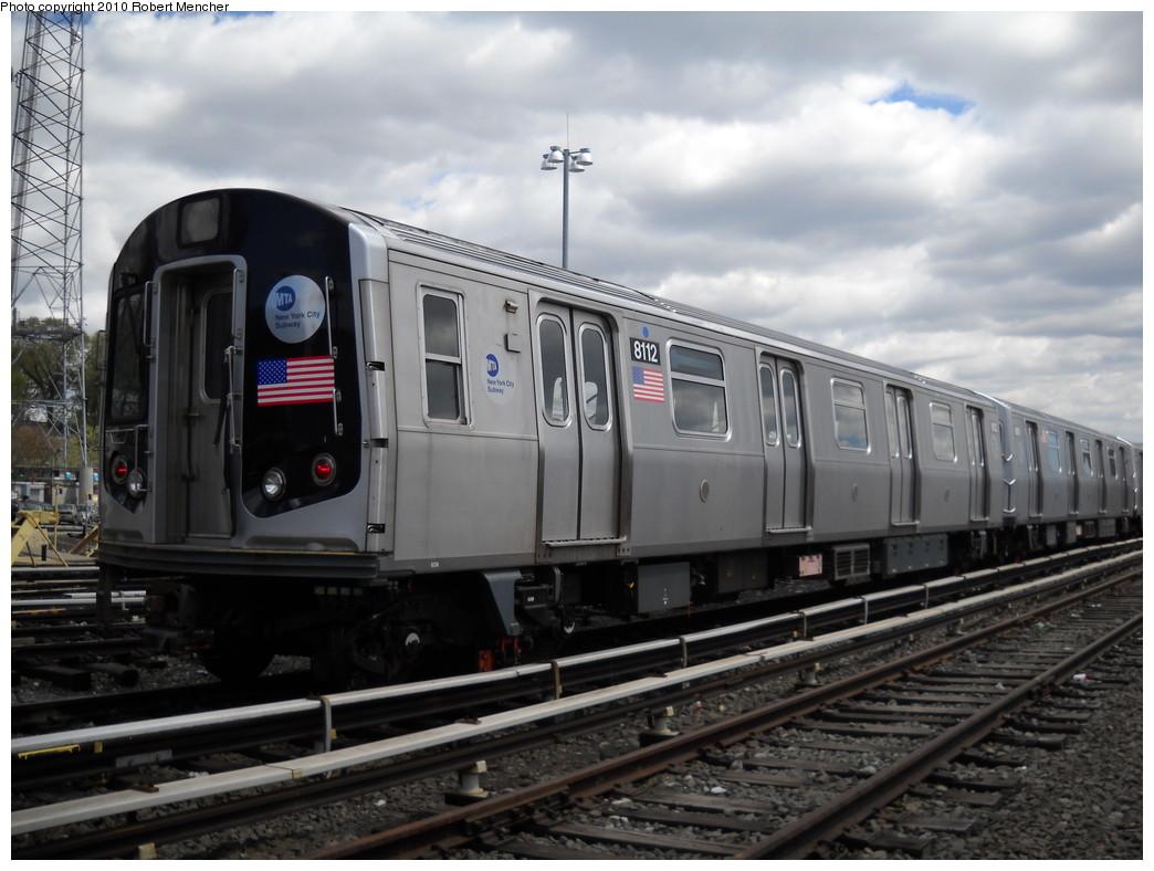 (218k, 1044x788)<br><b>Country:</b> United States<br><b>City:</b> New York<br><b>System:</b> New York City Transit<br><b>Location:</b> East New York Yard/Shops<br><b>Car:</b> R-143 (Kawasaki, 2001-2002) 8112 <br><b>Photo by:</b> Robert Mencher<br><b>Date:</b> 4/18/2010<br><b>Viewed (this week/total):</b> 0 / 590