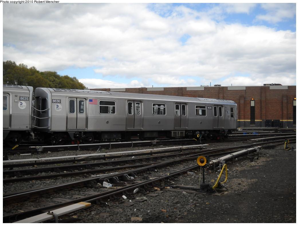 (224k, 1044x788)<br><b>Country:</b> United States<br><b>City:</b> New York<br><b>System:</b> New York City Transit<br><b>Location:</b> East New York Yard/Shops<br><b>Car:</b> R-160A-1 (Alstom, 2005-2008, 4 car sets)  8536 <br><b>Photo by:</b> Robert Mencher<br><b>Date:</b> 4/19/2010<br><b>Viewed (this week/total):</b> 0 / 694