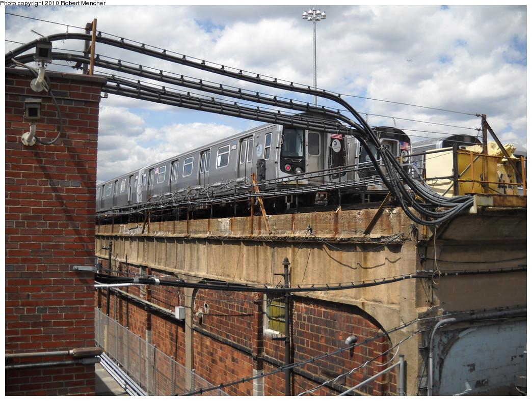(303k, 1044x788)<br><b>Country:</b> United States<br><b>City:</b> New York<br><b>System:</b> New York City Transit<br><b>Location:</b> East New York Yard/Shops<br><b>Car:</b> R-160A-1 (Alstom, 2005-2008, 4 car sets)  8400 <br><b>Photo by:</b> Robert Mencher<br><b>Date:</b> 4/20/2010<br><b>Viewed (this week/total):</b> 0 / 1043