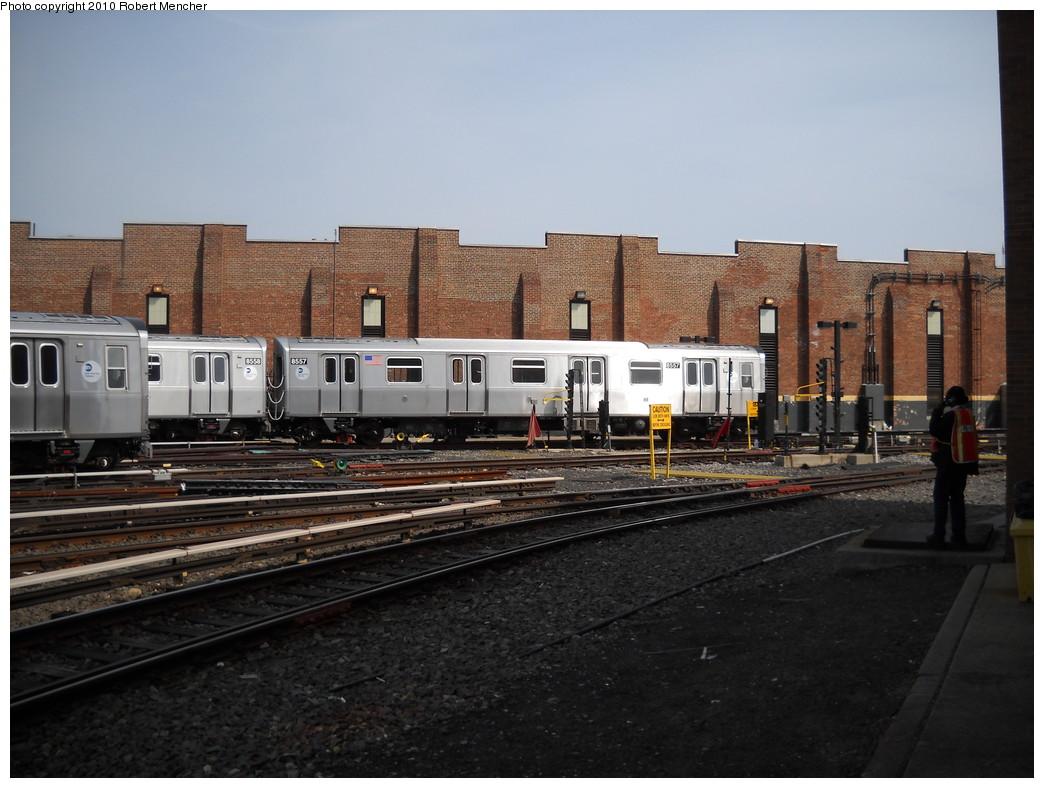 (232k, 1044x788)<br><b>Country:</b> United States<br><b>City:</b> New York<br><b>System:</b> New York City Transit<br><b>Location:</b> East New York Yard/Shops<br><b>Car:</b> R-160A-1 (Alstom, 2005-2008, 4 car sets)  8557 <br><b>Photo by:</b> Robert Mencher<br><b>Date:</b> 4/21/2010<br><b>Viewed (this week/total):</b> 0 / 770