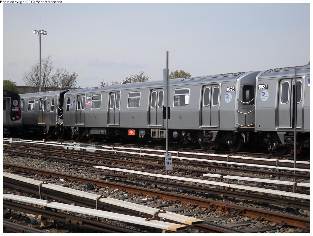 (259k, 1044x788)<br><b>Country:</b> United States<br><b>City:</b> New York<br><b>System:</b> New York City Transit<br><b>Location:</b> East New York Yard/Shops<br><b>Car:</b> R-160A-1 (Alstom, 2005-2008, 4 car sets)  8628 <br><b>Photo by:</b> Robert Mencher<br><b>Date:</b> 4/21/2010<br><b>Viewed (this week/total):</b> 1 / 965