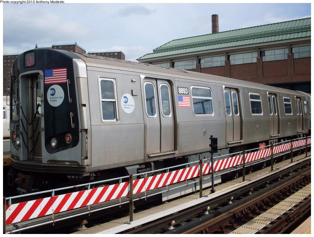 (281k, 1044x788)<br><b>Country:</b> United States<br><b>City:</b> New York<br><b>System:</b> New York City Transit<br><b>Location:</b> Coney Island/Stillwell Avenue<br><b>Route:</b> Q<br><b>Car:</b> R-160B (Kawasaki, 2005-2008)  8893 <br><b>Photo by:</b> Anthony Modesto<br><b>Date:</b> 4/11/2009<br><b>Viewed (this week/total):</b> 2 / 706