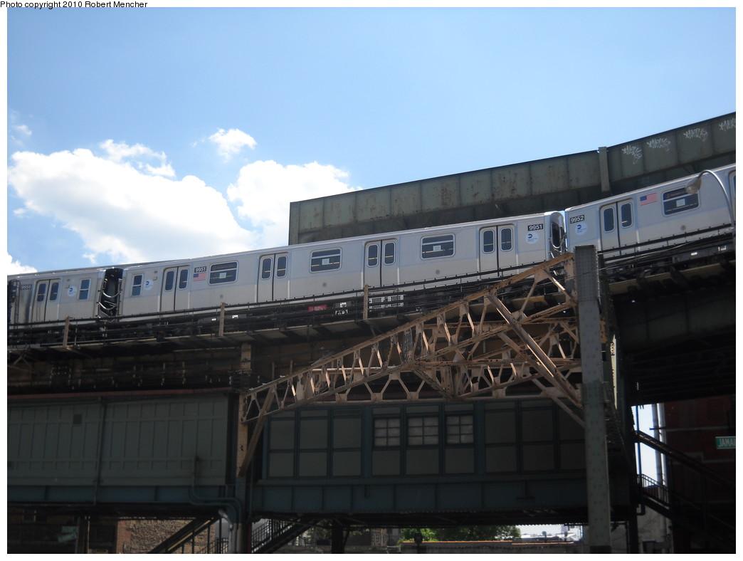 (184k, 1044x788)<br><b>Country:</b> United States<br><b>City:</b> New York<br><b>System:</b> New York City Transit<br><b>Line:</b> BMT Nassau Street/Jamaica Line<br><b>Location:</b> Broadway/East New York (Broadway Junction) <br><b>Route:</b> Testing<br><b>Car:</b> R-160A (Option 2) (Alstom, 2009, 4-car sets)  9951 <br><b>Photo by:</b> Robert Mencher<br><b>Date:</b> 5/4/2010<br><b>Viewed (this week/total):</b> 1 / 1328