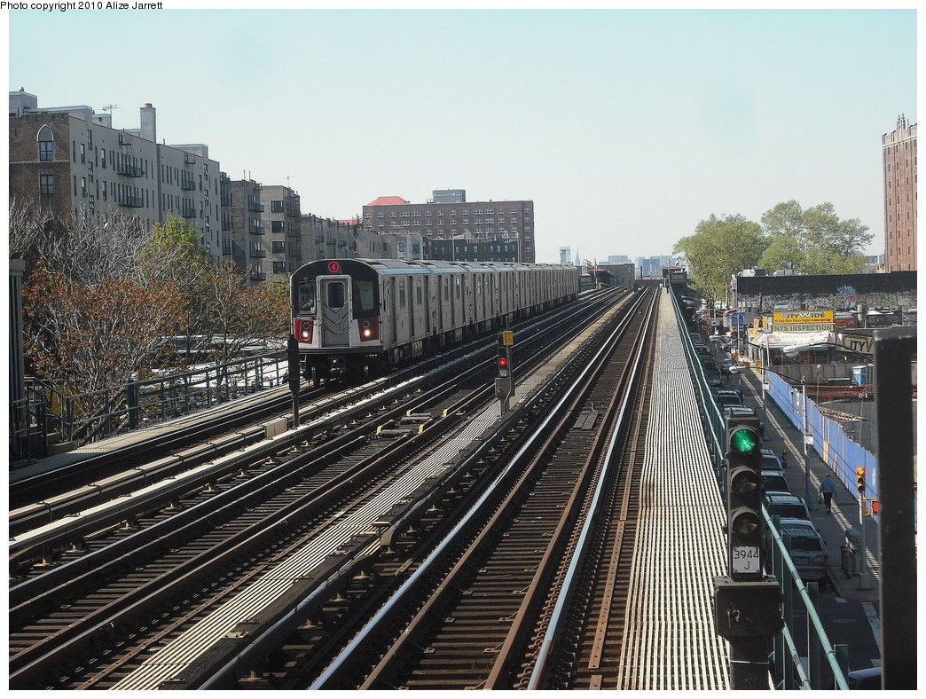 (294k, 1044x788)<br><b>Country:</b> United States<br><b>City:</b> New York<br><b>System:</b> New York City Transit<br><b>Line:</b> IRT Woodlawn Line<br><b>Location:</b> Mt. Eden Avenue <br><b>Route:</b> 4<br><b>Car:</b> R-142A (Option Order, Kawasaki, 2002-2003)  7695 <br><b>Photo by:</b> Alize Jarrett<br><b>Date:</b> 4/23/2010<br><b>Viewed (this week/total):</b> 0 / 1116