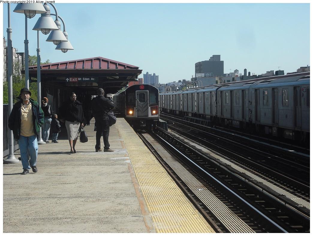 (256k, 1044x788)<br><b>Country:</b> United States<br><b>City:</b> New York<br><b>System:</b> New York City Transit<br><b>Line:</b> IRT Woodlawn Line<br><b>Location:</b> Mt. Eden Avenue <br><b>Route:</b> 4<br><b>Car:</b> R-142A (Supplemental Order, Kawasaki, 2003-2004)  7771 <br><b>Photo by:</b> Alize Jarrett<br><b>Date:</b> 4/23/2010<br><b>Viewed (this week/total):</b> 0 / 1593
