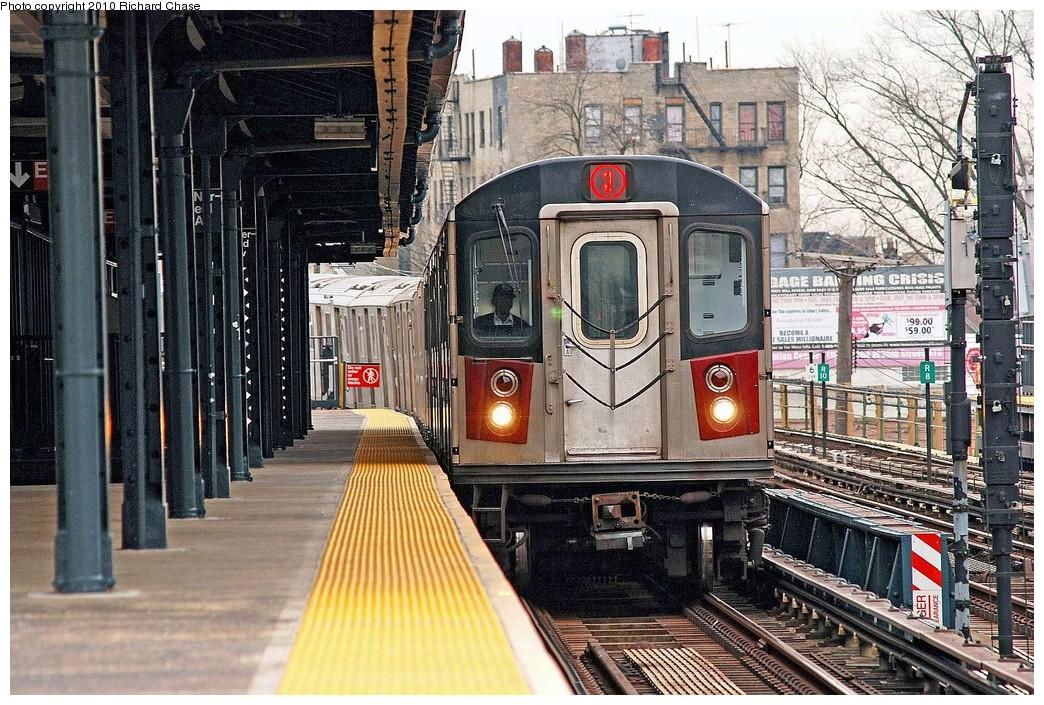 (290k, 1044x705)<br><b>Country:</b> United States<br><b>City:</b> New York<br><b>System:</b> New York City Transit<br><b>Line:</b> IRT White Plains Road Line<br><b>Location:</b> 238th Street (Nereid Avenue) <br><b>Route:</b> 2<br><b>Car:</b> R-142 or R-142A (Number Unknown)  <br><b>Photo by:</b> Richard Chase<br><b>Date:</b> 3/25/2010<br><b>Viewed (this week/total):</b> 0 / 1543