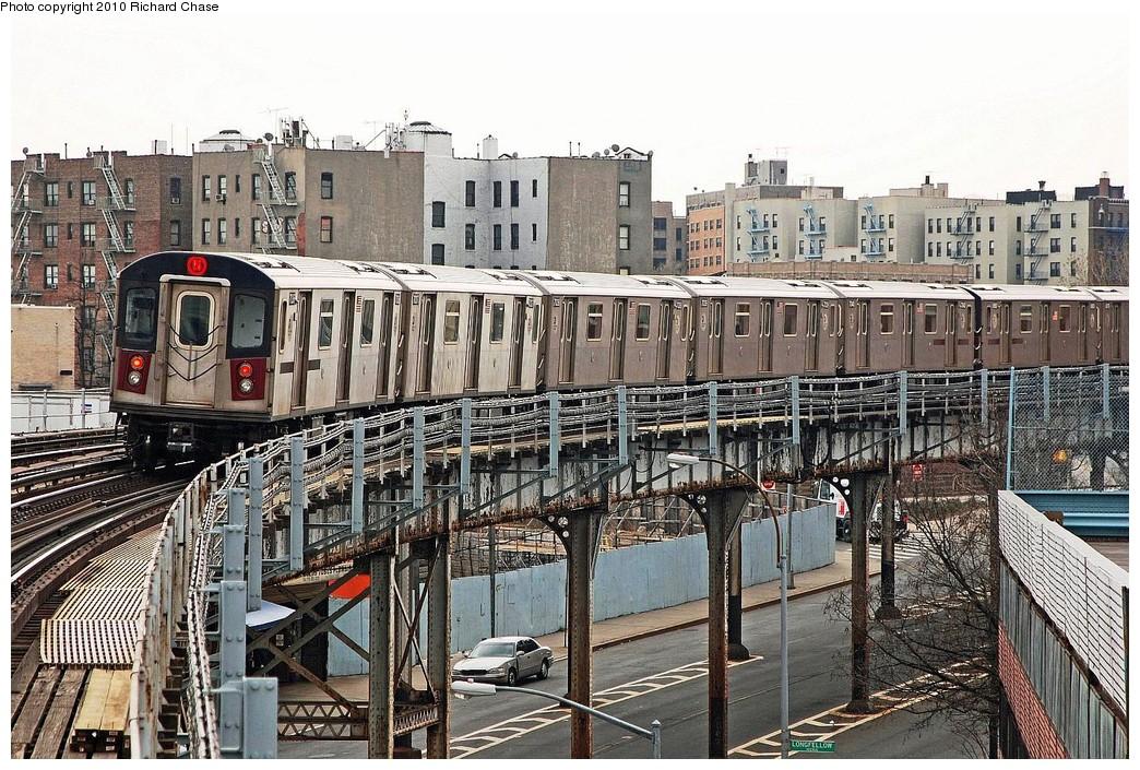 (289k, 1044x705)<br><b>Country:</b> United States<br><b>City:</b> New York<br><b>System:</b> New York City Transit<br><b>Line:</b> IRT White Plains Road Line<br><b>Location:</b> West Farms Sq./East Tremont Ave./177th St. <br><b>Route:</b> 5<br><b>Car:</b> R-142 or R-142A (Number Unknown)  <br><b>Photo by:</b> Richard Chase<br><b>Date:</b> 3/25/2010<br><b>Viewed (this week/total):</b> 4 / 1410
