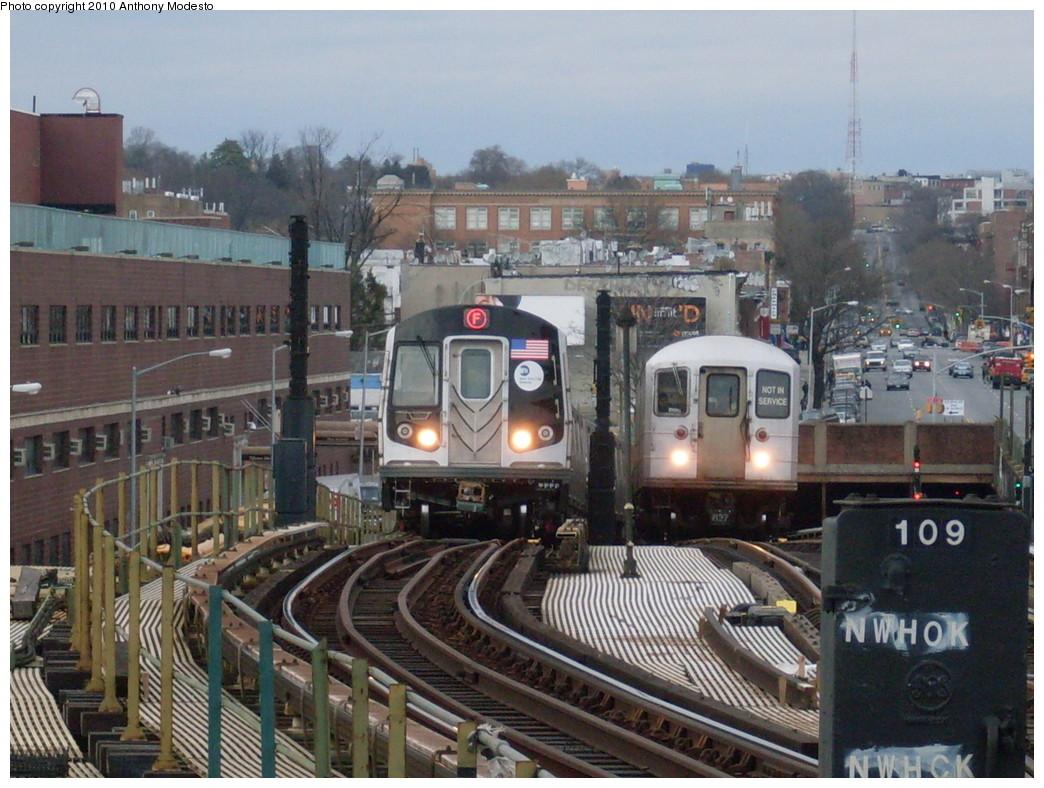 (267k, 1044x788)<br><b>Country:</b> United States<br><b>City:</b> New York<br><b>System:</b> New York City Transit<br><b>Line:</b> BMT Culver Line<br><b>Location:</b> Ditmas Avenue <br><b>Route:</b> F<br><b>Car:</b> R-160B (Option 1) (Kawasaki, 2008-2009)  9163 <br><b>Photo by:</b> Anthony Modesto<br><b>Date:</b> 4/11/2009<br><b>Notes:</b> With work motor EP008<br><b>Viewed (this week/total):</b> 0 / 2072