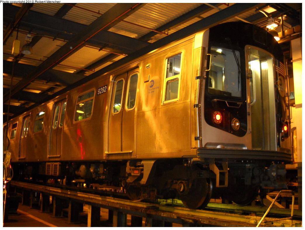 (267k, 1044x788)<br><b>Country:</b> United States<br><b>City:</b> New York<br><b>System:</b> New York City Transit<br><b>Location:</b> Jamaica Yard/Shops<br><b>Car:</b> R-160A (Option 1) (Alstom, 2008-2009, 5 car sets)  9292 <br><b>Photo by:</b> Robert Mencher<br><b>Date:</b> 4/30/2010<br><b>Viewed (this week/total):</b> 0 / 1147