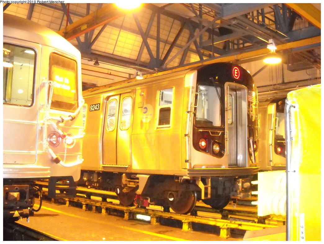 (297k, 1044x788)<br><b>Country:</b> United States<br><b>City:</b> New York<br><b>System:</b> New York City Transit<br><b>Location:</b> Jamaica Yard/Shops<br><b>Car:</b> R-160A (Option 1) (Alstom, 2008-2009, 5 car sets)  9243 <br><b>Photo by:</b> Robert Mencher<br><b>Date:</b> 4/30/2010<br><b>Viewed (this week/total):</b> 1 / 1130
