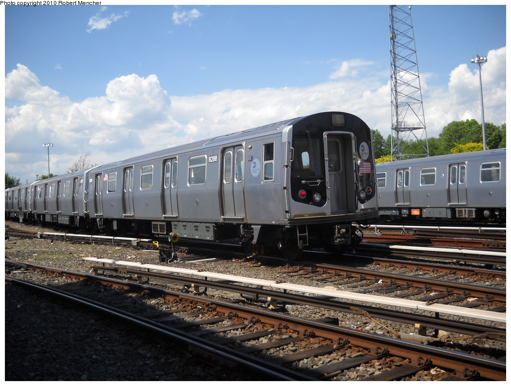 (264k, 1044x788)<br><b>Country:</b> United States<br><b>City:</b> New York<br><b>System:</b> New York City Transit<br><b>Location:</b> East New York Yard/Shops<br><b>Car:</b> R-143 (Kawasaki, 2001-2002) 8288 <br><b>Photo by:</b> Robert Mencher<br><b>Date:</b> 5/4/2010<br><b>Viewed (this week/total):</b> 1 / 629
