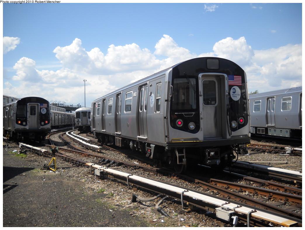 (274k, 1044x788)<br><b>Country:</b> United States<br><b>City:</b> New York<br><b>System:</b> New York City Transit<br><b>Location:</b> East New York Yard/Shops<br><b>Car:</b> R-160A-1 (Alstom, 2005-2008, 4 car sets)  8453 <br><b>Photo by:</b> Robert Mencher<br><b>Date:</b> 5/4/2010<br><b>Viewed (this week/total):</b> 0 / 990