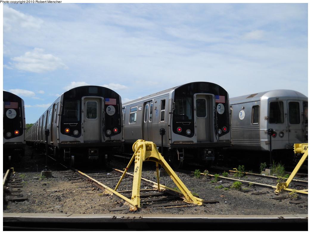 (252k, 1044x788)<br><b>Country:</b> United States<br><b>City:</b> New York<br><b>System:</b> New York City Transit<br><b>Location:</b> Jamaica Yard/Shops<br><b>Car:</b> R-160A (Option 2) (Alstom, 2009, 5-car sets)  9682 <br><b>Photo by:</b> Robert Mencher<br><b>Date:</b> 5/15/2010<br><b>Viewed (this week/total):</b> 0 / 971
