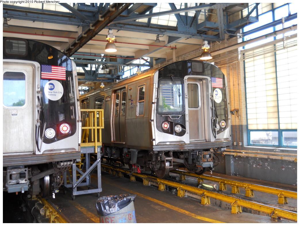 (320k, 1044x788)<br><b>Country:</b> United States<br><b>City:</b> New York<br><b>System:</b> New York City Transit<br><b>Location:</b> Jamaica Yard/Shops<br><b>Car:</b> R-160B (Option 2) (Kawasaki, 2009)  9867 <br><b>Photo by:</b> Robert Mencher<br><b>Date:</b> 5/15/2010<br><b>Viewed (this week/total):</b> 1 / 1003