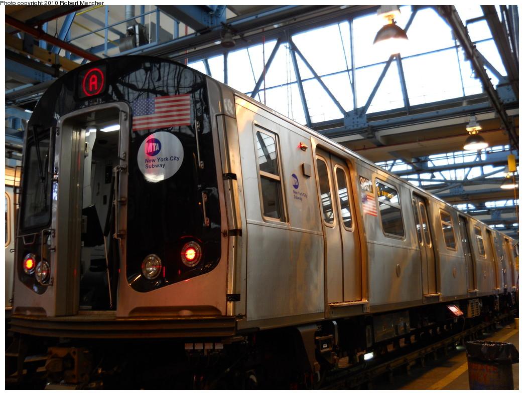 (276k, 1044x788)<br><b>Country:</b> United States<br><b>City:</b> New York<br><b>System:</b> New York City Transit<br><b>Location:</b> Jamaica Yard/Shops<br><b>Car:</b> R-160B (Option 2) (Kawasaki, 2009)  9857 <br><b>Photo by:</b> Robert Mencher<br><b>Date:</b> 5/15/2010<br><b>Viewed (this week/total):</b> 1 / 1559