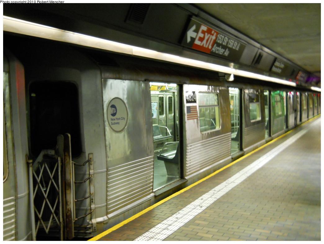 (248k, 1044x788)<br><b>Country:</b> United States<br><b>City:</b> New York<br><b>System:</b> New York City Transit<br><b>Line:</b> BMT Nassau Street/Jamaica Line<br><b>Location:</b> Jamaica Center/Parsons-Archer <br><b>Route:</b> J<br><b>Car:</b> R-42 (St. Louis, 1969-1970)  4824 <br><b>Photo by:</b> Robert Mencher<br><b>Date:</b> 5/15/2010<br><b>Viewed (this week/total):</b> 0 / 1010