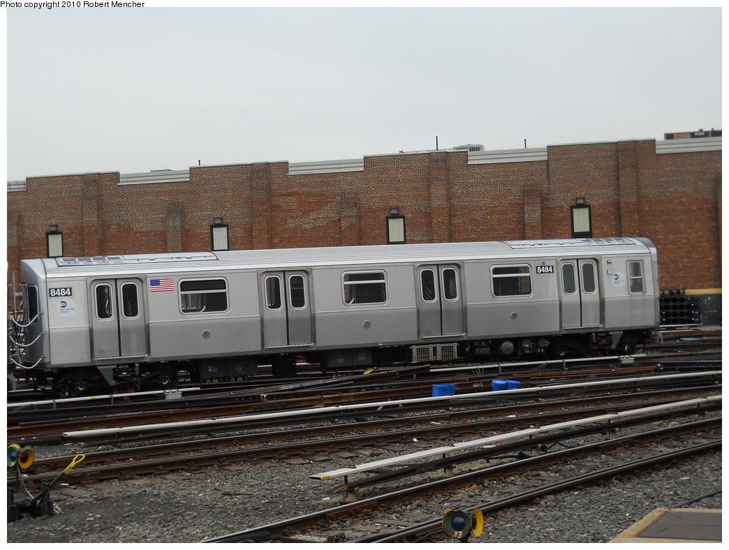 (283k, 1044x788)<br><b>Country:</b> United States<br><b>City:</b> New York<br><b>System:</b> New York City Transit<br><b>Location:</b> East New York Yard/Shops<br><b>Car:</b> R-160A-1 (Alstom, 2005-2008, 4 car sets)  8484 <br><b>Photo by:</b> Robert Mencher<br><b>Date:</b> 5/17/2010<br><b>Viewed (this week/total):</b> 0 / 687