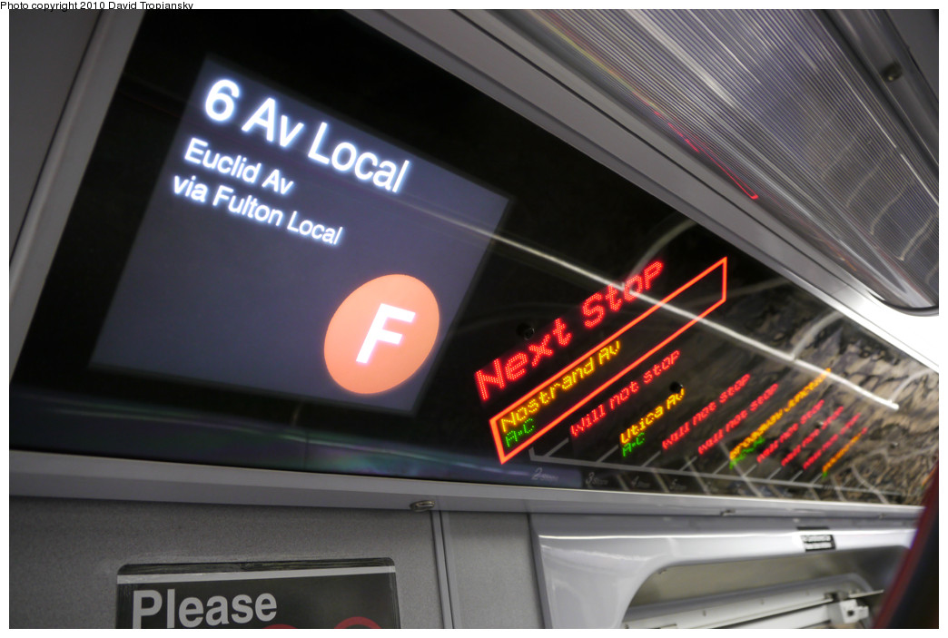 (211k, 1044x703)<br><b>Country:</b> United States<br><b>City:</b> New York<br><b>System:</b> New York City Transit<br><b>Route:</b> F<br><b>Car:</b> R-160A/R-160B Series (Number Unknown) Interior <br><b>Photo by:</b> David Tropiansky<br><b>Date:</b> 4/18/2010<br><b>Notes:</b> F to Euclid FIND display.<br><b>Viewed (this week/total):</b> 0 / 1340