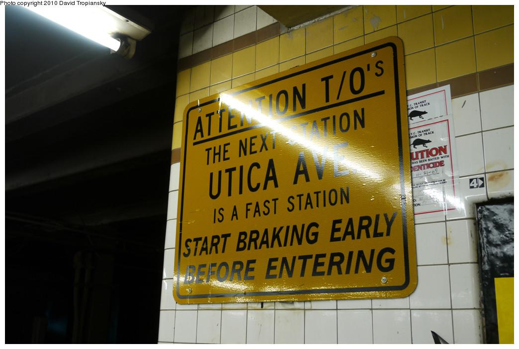 (233k, 1044x703)<br><b>Country:</b> United States<br><b>City:</b> New York<br><b>System:</b> New York City Transit<br><b>Line:</b> IND Fulton Street Line<br><b>Location:</b> Nostrand Avenue <br><b>Photo by:</b> David Tropiansky<br><b>Date:</b> 4/18/2010<br><b>Notes:</b> Fast station reminder at Nostrand.<br><b>Viewed (this week/total):</b> 0 / 1750