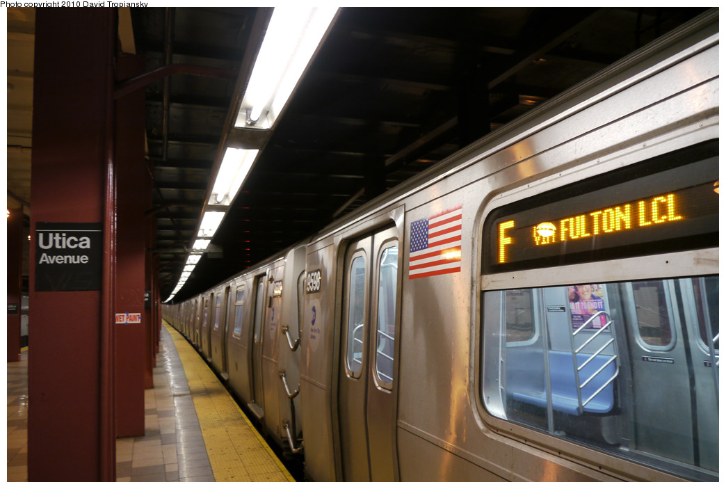(216k, 1044x703)<br><b>Country:</b> United States<br><b>City:</b> New York<br><b>System:</b> New York City Transit<br><b>Line:</b> IND Fulton Street Line<br><b>Location:</b> Utica Avenue <br><b>Route:</b> F<br><b>Car:</b> R-160A (Option 2) (Alstom, 2009, 5-car sets)  9596 <br><b>Photo by:</b> David Tropiansky<br><b>Date:</b> 4/18/2010<br><b>Viewed (this week/total):</b> 1 / 1528