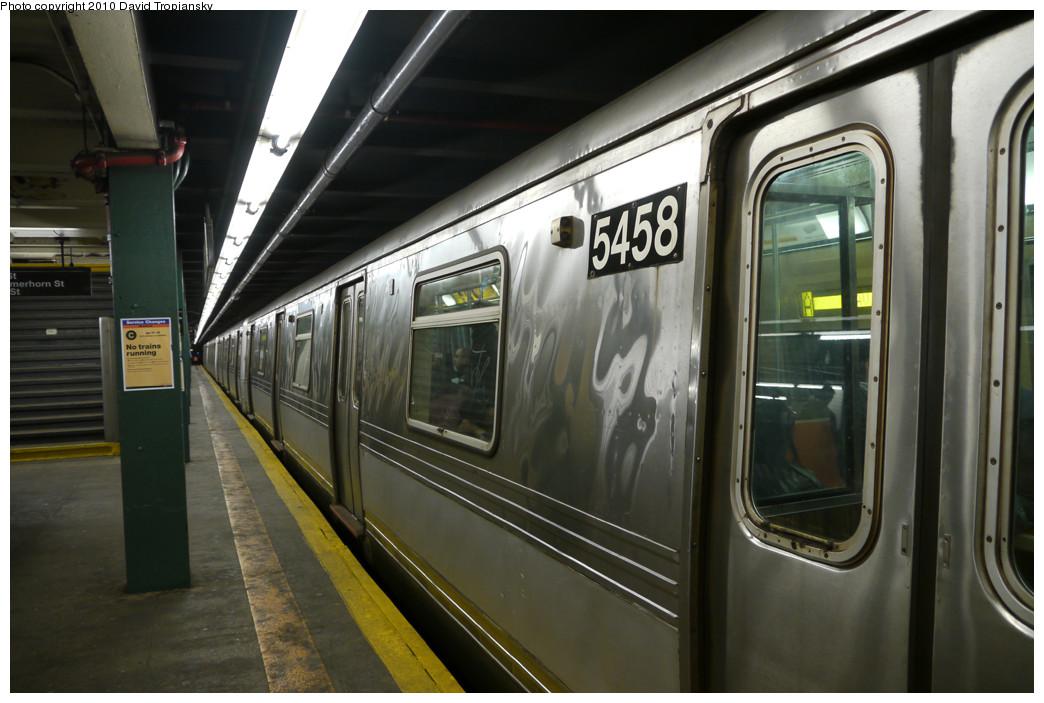 (224k, 1044x703)<br><b>Country:</b> United States<br><b>City:</b> New York<br><b>System:</b> New York City Transit<br><b>Line:</b> IND Fulton Street Line<br><b>Location:</b> Hoyt-Schermerhorn Street <br><b>Route:</b> A<br><b>Car:</b> R-44 (St. Louis, 1971-73) 5458 <br><b>Photo by:</b> David Tropiansky<br><b>Date:</b> 4/18/2010<br><b>Viewed (this week/total):</b> 0 / 1256