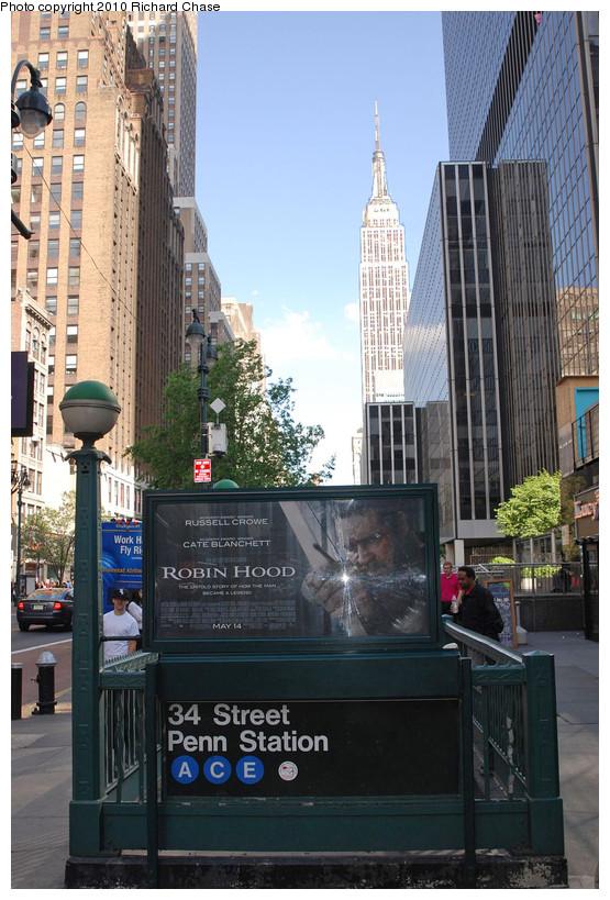 (200k, 555x819)<br><b>Country:</b> United States<br><b>City:</b> New York<br><b>System:</b> New York City Transit<br><b>Line:</b> IND 8th Avenue Line<br><b>Location:</b> 34th Street/Penn Station <br><b>Photo by:</b> Richard Chase<br><b>Date:</b> 5/8/2010<br><b>Notes:</b> Station entrance.<br><b>Viewed (this week/total):</b> 0 / 1281