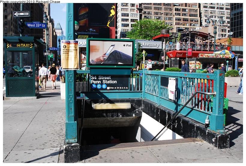 (191k, 820x555)<br><b>Country:</b> United States<br><b>City:</b> New York<br><b>System:</b> New York City Transit<br><b>Line:</b> IND 8th Avenue Line<br><b>Location:</b> 34th Street/Penn Station <br><b>Photo by:</b> Richard Chase<br><b>Date:</b> 5/8/2010<br><b>Notes:</b> Station entrance.<br><b>Viewed (this week/total):</b> 3 / 1845