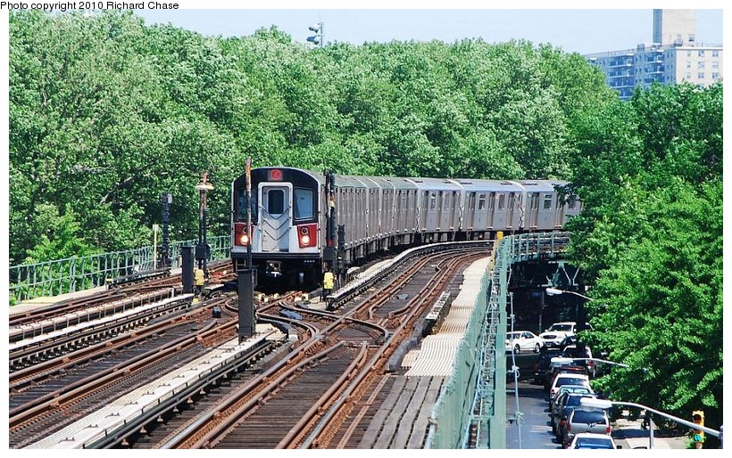(222k, 820x514)<br><b>Country:</b> United States<br><b>City:</b> New York<br><b>System:</b> New York City Transit<br><b>Line:</b> IRT Woodlawn Line<br><b>Location:</b> Kingsbridge Road <br><b>Route:</b> 4<br><b>Car:</b> R-142 or R-142A (Number Unknown)  <br><b>Photo by:</b> Richard Chase<br><b>Date:</b> 5/8/2010<br><b>Viewed (this week/total):</b> 1 / 1696