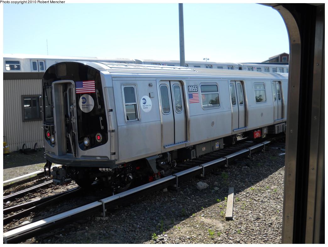 (267k, 1044x788)<br><b>Country:</b> United States<br><b>City:</b> New York<br><b>System:</b> New York City Transit<br><b>Location:</b> East New York Yard/Shops<br><b>Car:</b> R-160A (Option 2) (Alstom, 2009, 4-car sets)  9955 <br><b>Photo by:</b> Robert Mencher<br><b>Date:</b> 5/25/2010<br><b>Viewed (this week/total):</b> 0 / 1021