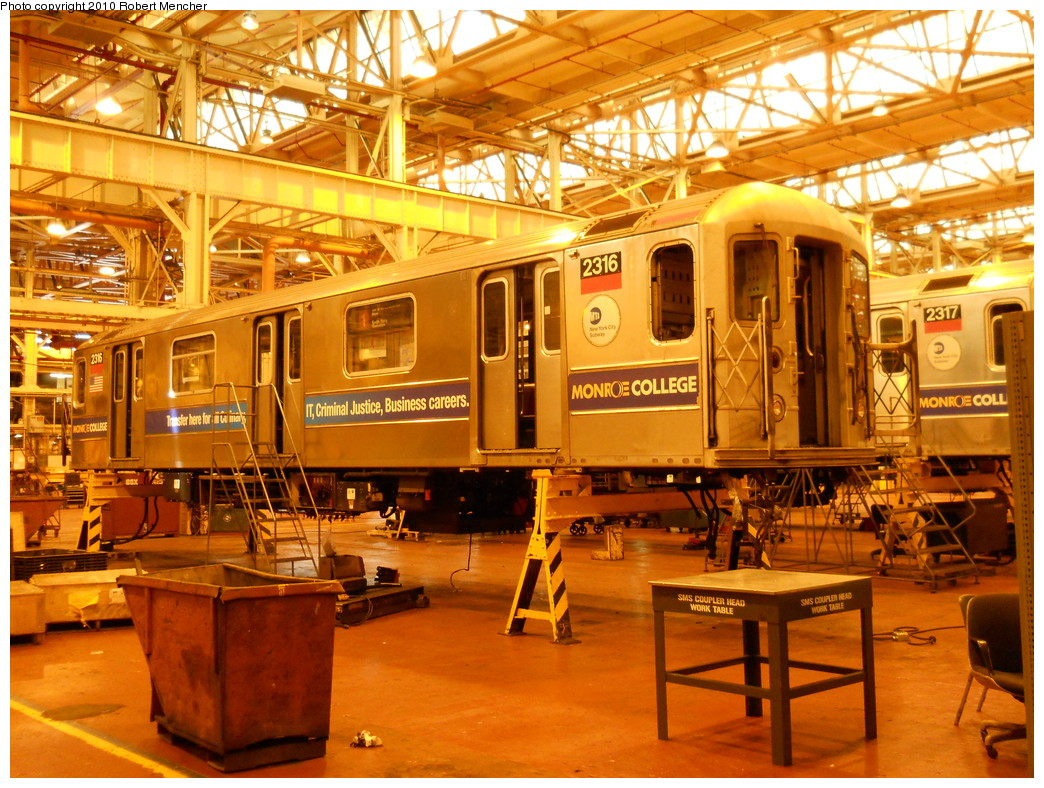 (355k, 1044x788)<br><b>Country:</b> United States<br><b>City:</b> New York<br><b>System:</b> New York City Transit<br><b>Location:</b> Coney Island Shop/Overhaul & Repair Shop<br><b>Car:</b> R-62A (Bombardier, 1984-1987)  2316 <br><b>Photo by:</b> Robert Mencher<br><b>Date:</b> 5/26/2010<br><b>Viewed (this week/total):</b> 0 / 659