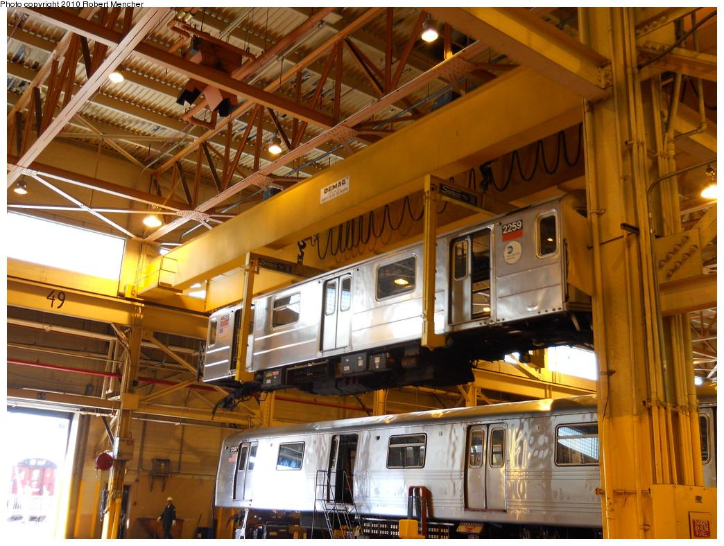(327k, 1044x788)<br><b>Country:</b> United States<br><b>City:</b> New York<br><b>System:</b> New York City Transit<br><b>Location:</b> Coney Island Shop/Overhaul & Repair Shop<br><b>Car:</b> R-62A (Bombardier, 1984-1987)  2259 <br><b>Photo by:</b> Robert Mencher<br><b>Date:</b> 5/26/2010<br><b>Viewed (this week/total):</b> 2 / 1059
