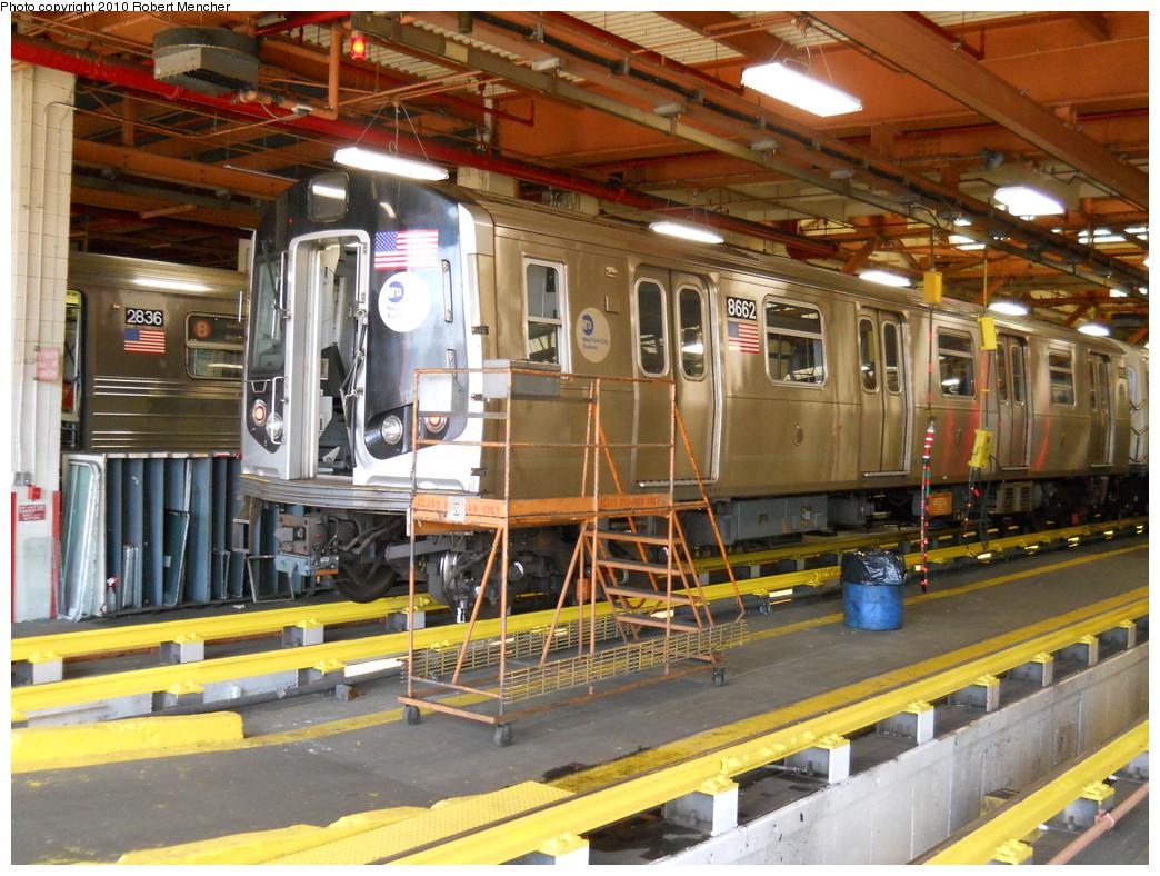 (328k, 1044x788)<br><b>Country:</b> United States<br><b>City:</b> New York<br><b>System:</b> New York City Transit<br><b>Location:</b> Coney Island Shop/Maint. & Inspection Shop<br><b>Car:</b> R-160A-2 (Alstom, 2005-2008, 5 car sets)  8662 <br><b>Photo by:</b> Robert Mencher<br><b>Date:</b> 5/26/2010<br><b>Viewed (this week/total):</b> 1 / 981