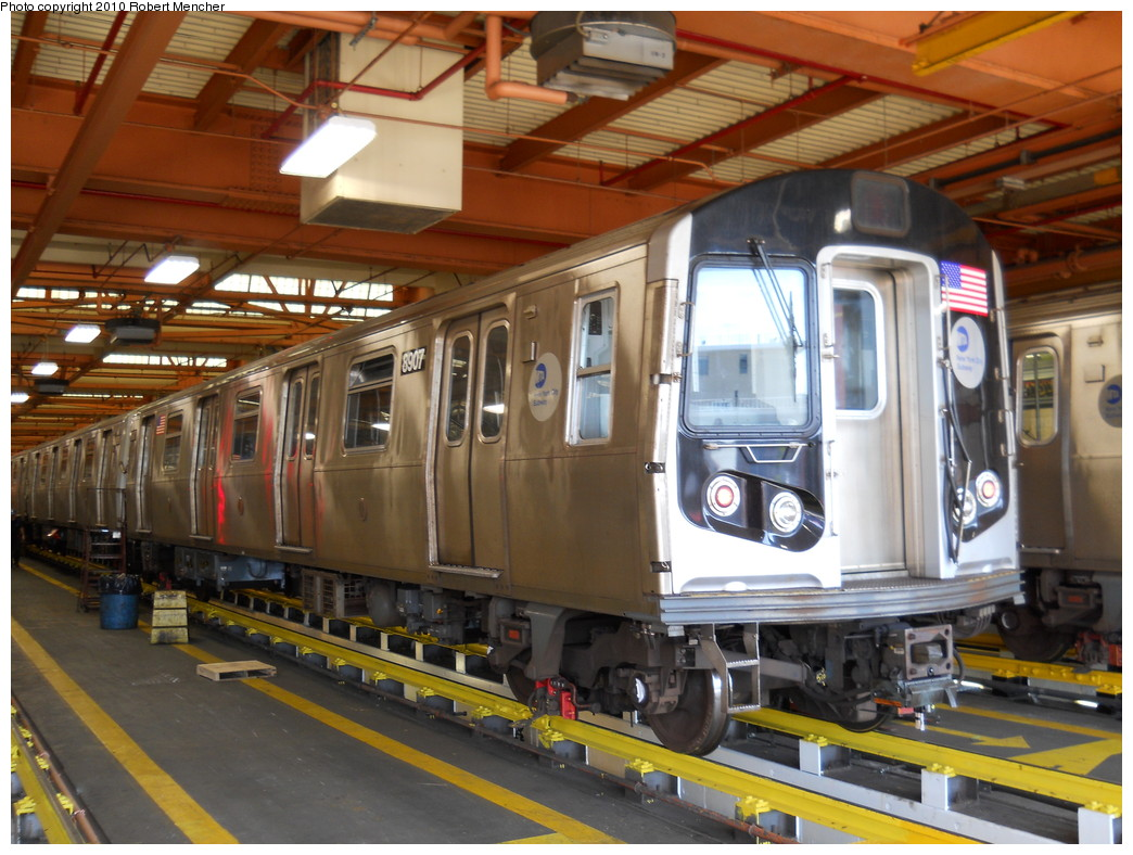 (288k, 1044x788)<br><b>Country:</b> United States<br><b>City:</b> New York<br><b>System:</b> New York City Transit<br><b>Location:</b> Coney Island Shop/Maint. & Inspection Shop<br><b>Car:</b> R-160B (Kawasaki, 2005-2008)  8907 <br><b>Photo by:</b> Robert Mencher<br><b>Date:</b> 5/26/2010<br><b>Viewed (this week/total):</b> 2 / 933