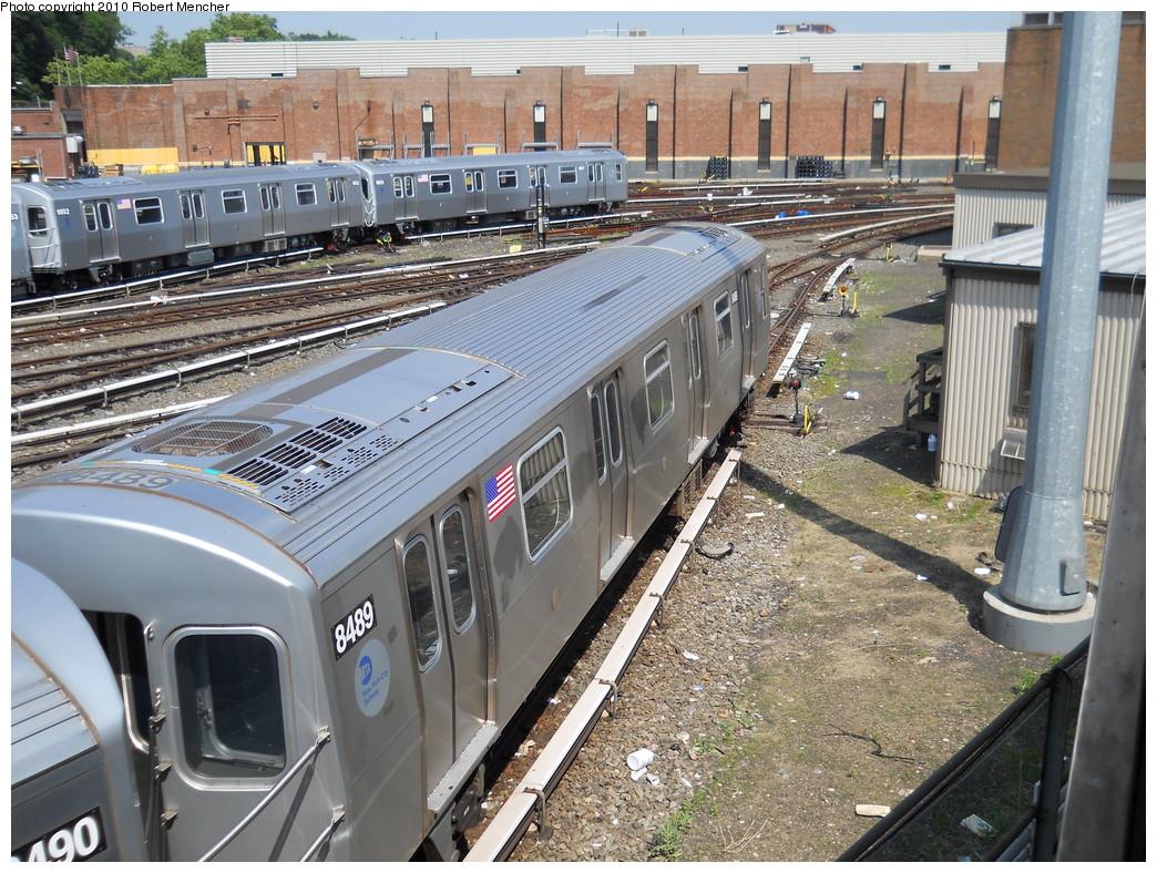 (363k, 1044x788)<br><b>Country:</b> United States<br><b>City:</b> New York<br><b>System:</b> New York City Transit<br><b>Location:</b> East New York Yard/Shops<br><b>Car:</b> R-160A-1 (Alstom, 2005-2008, 4 car sets)  8489 <br><b>Photo by:</b> Robert Mencher<br><b>Date:</b> 5/26/2010<br><b>Viewed (this week/total):</b> 0 / 935