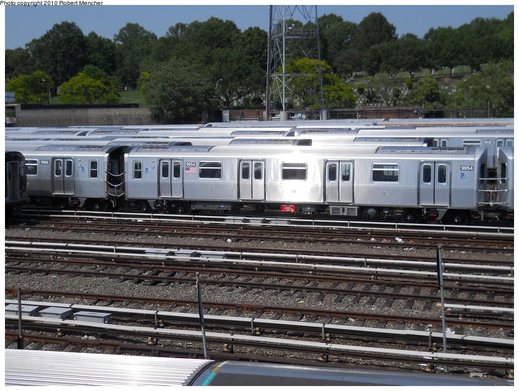 (345k, 1044x788)<br><b>Country:</b> United States<br><b>City:</b> New York<br><b>System:</b> New York City Transit<br><b>Location:</b> East New York Yard/Shops<br><b>Car:</b> R-160A (Option 2) (Alstom, 2009, 4-car sets)  9954 <br><b>Photo by:</b> Robert Mencher<br><b>Date:</b> 5/26/2010<br><b>Viewed (this week/total):</b> 0 / 1293
