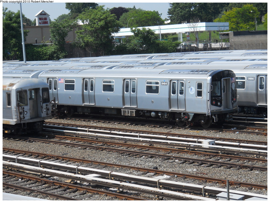 (389k, 1044x788)<br><b>Country:</b> United States<br><b>City:</b> New York<br><b>System:</b> New York City Transit<br><b>Location:</b> East New York Yard/Shops<br><b>Car:</b> R-160A-1 (Alstom, 2005-2008, 4 car sets)  8464 <br><b>Photo by:</b> Robert Mencher<br><b>Date:</b> 5/26/2010<br><b>Viewed (this week/total):</b> 0 / 701
