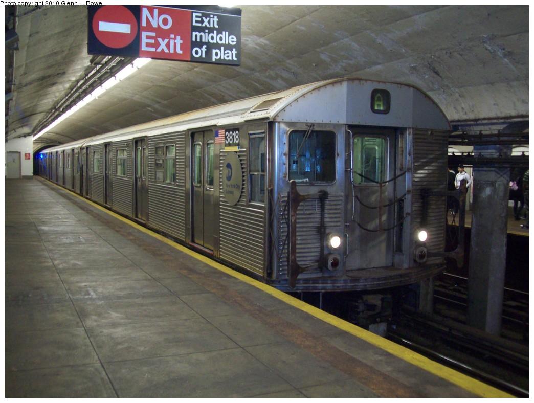 (204k, 1044x788)<br><b>Country:</b> United States<br><b>City:</b> New York<br><b>System:</b> New York City Transit<br><b>Line:</b> IND 8th Avenue Line<br><b>Location:</b> 190th Street/Overlook Terrace <br><b>Route:</b> A<br><b>Car:</b> R-32 (Budd, 1964)  3818 <br><b>Photo by:</b> Glenn L. Rowe<br><b>Date:</b> 5/21/2010<br><b>Viewed (this week/total):</b> 0 / 999