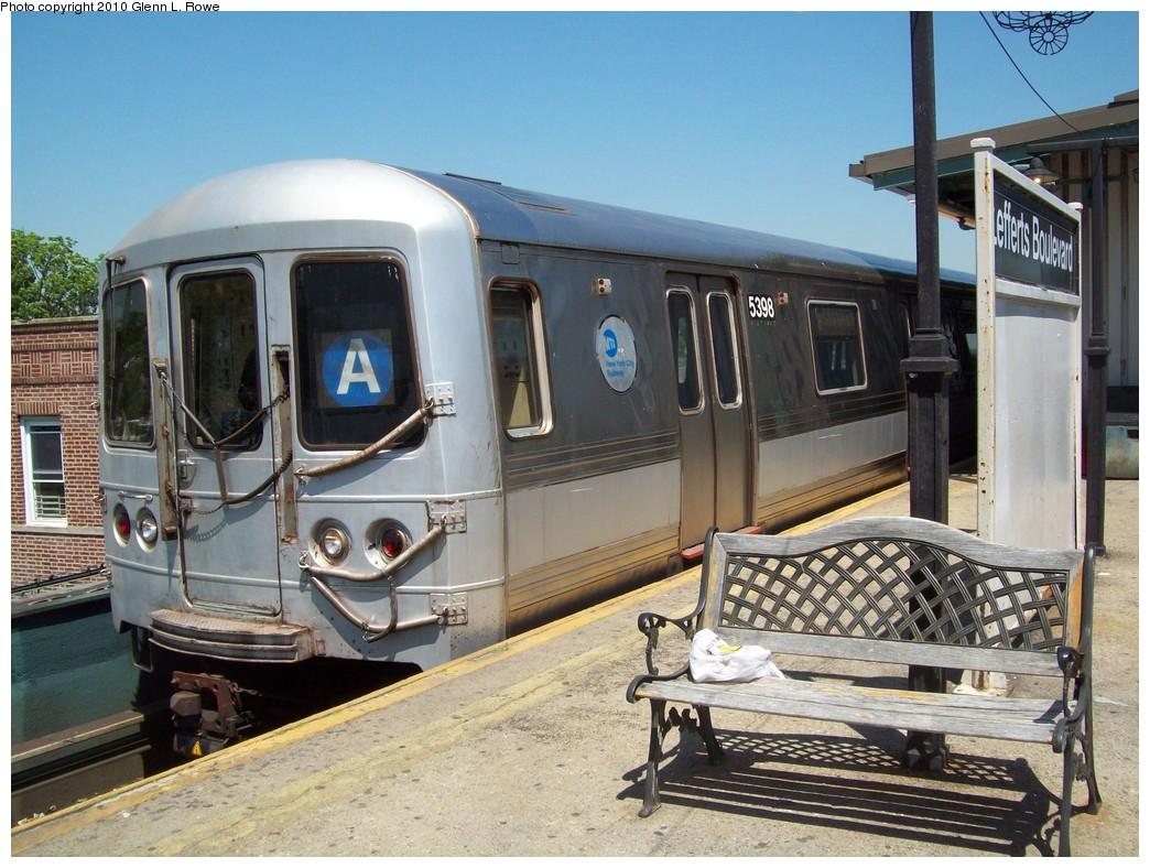 (246k, 1044x788)<br><b>Country:</b> United States<br><b>City:</b> New York<br><b>System:</b> New York City Transit<br><b>Line:</b> IND Fulton Street Line<br><b>Location:</b> Lefferts Boulevard <br><b>Route:</b> A<br><b>Car:</b> R-44 (St. Louis, 1971-73) 5398 <br><b>Photo by:</b> Glenn L. Rowe<br><b>Date:</b> 5/20/2010<br><b>Viewed (this week/total):</b> 3 / 789