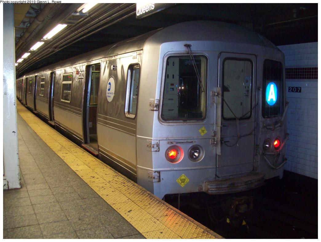 (205k, 1044x788)<br><b>Country:</b> United States<br><b>City:</b> New York<br><b>System:</b> New York City Transit<br><b>Line:</b> IND 8th Avenue Line<br><b>Location:</b> 207th Street <br><b>Route:</b> A<br><b>Car:</b> R-44 (St. Louis, 1971-73) 5302 <br><b>Photo by:</b> Glenn L. Rowe<br><b>Date:</b> 5/14/2010<br><b>Viewed (this week/total):</b> 1 / 715