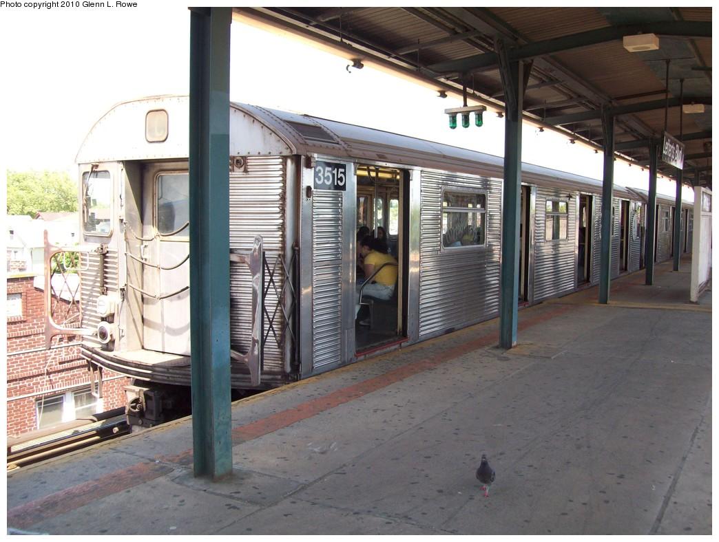 (225k, 1044x788)<br><b>Country:</b> United States<br><b>City:</b> New York<br><b>System:</b> New York City Transit<br><b>Line:</b> IND Fulton Street Line<br><b>Location:</b> Lefferts Boulevard <br><b>Route:</b> A<br><b>Car:</b> R-32 (Budd, 1964)  3515 <br><b>Photo by:</b> Glenn L. Rowe<br><b>Date:</b> 5/25/2010<br><b>Viewed (this week/total):</b> 0 / 1039
