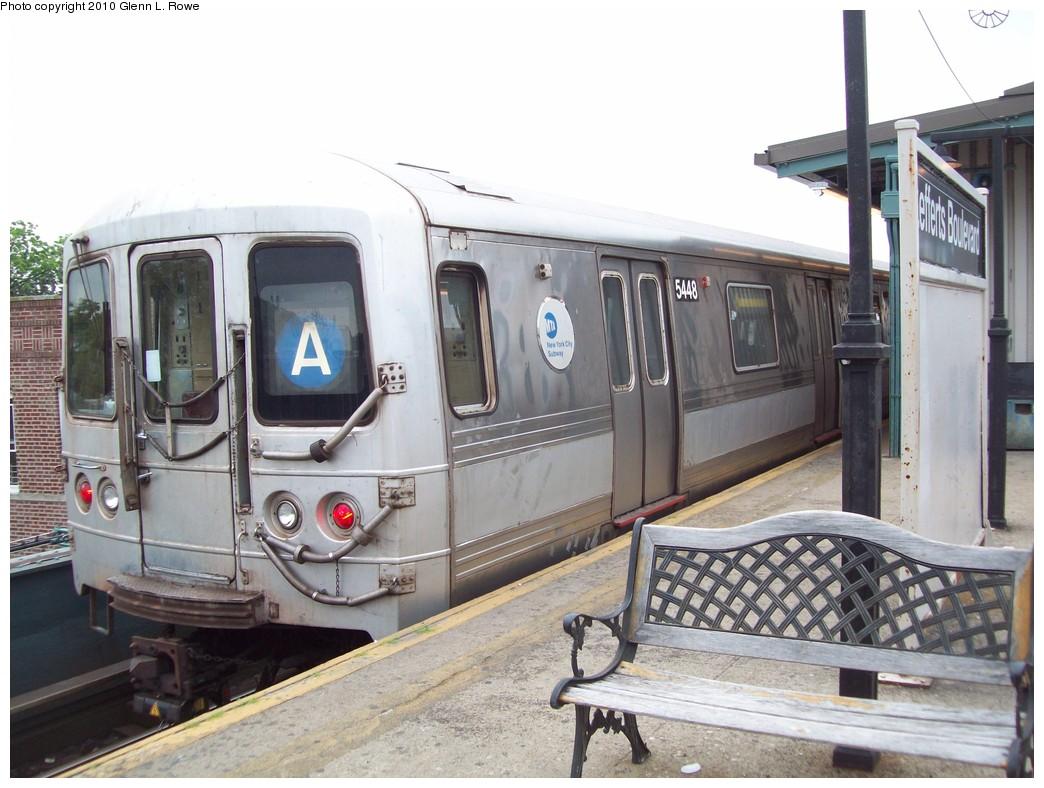 (209k, 1044x788)<br><b>Country:</b> United States<br><b>City:</b> New York<br><b>System:</b> New York City Transit<br><b>Line:</b> IND Fulton Street Line<br><b>Location:</b> Lefferts Boulevard <br><b>Route:</b> A<br><b>Car:</b> R-44 (St. Louis, 1971-73) 5448 <br><b>Photo by:</b> Glenn L. Rowe<br><b>Date:</b> 5/27/2010<br><b>Viewed (this week/total):</b> 2 / 1123