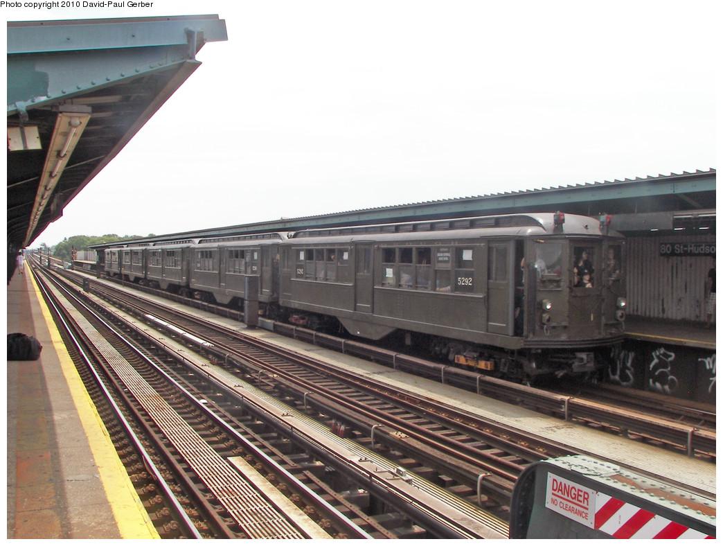 (267k, 1044x788)<br><b>Country:</b> United States<br><b>City:</b> New York<br><b>System:</b> New York City Transit<br><b>Line:</b> IND Fulton Street Line<br><b>Location:</b> 80th Street/Hudson Street <br><b>Route:</b> Fan Trip<br><b>Car:</b> Low-V (Museum Train) 5292 <br><b>Photo by:</b> David-Paul Gerber<br><b>Date:</b> 6/6/2010<br><b>Viewed (this week/total):</b> 0 / 1154