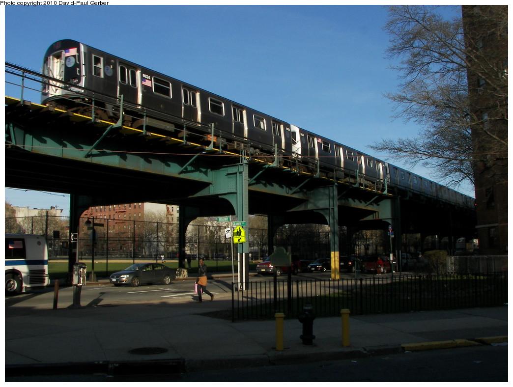 (260k, 1044x788)<br><b>Country:</b> United States<br><b>City:</b> New York<br><b>System:</b> New York City Transit<br><b>Line:</b> BMT Nassau Street/Jamaica Line<br><b>Location:</b> Chauncey Street <br><b>Route:</b> J<br><b>Car:</b> R-160A-1 (Alstom, 2005-2008, 4 car sets)  8624 <br><b>Photo by:</b> David-Paul Gerber<br><b>Date:</b> 4/2/2010<br><b>Notes:</b> On Stone Ave facing Broadway. Jamaica-bound J all stop train.<br><b>Viewed (this week/total):</b> 2 / 1480